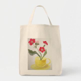 Bolso De Tela Tote, taza de té, flor