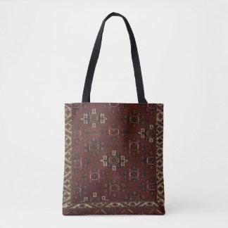 Bolso De Tela Tote turcomano principal de la alfombra de Yomut