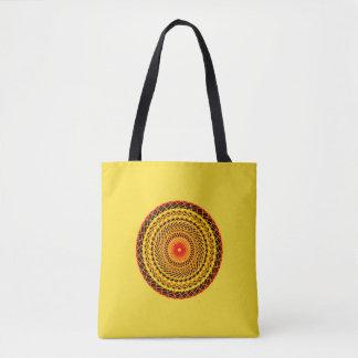 Bolso De Tela Tragetasche con Mandala en amarillo y rojo