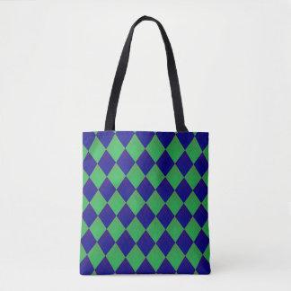 Bolso De Tela Tragetasche con modelo de rombo en azul y verde