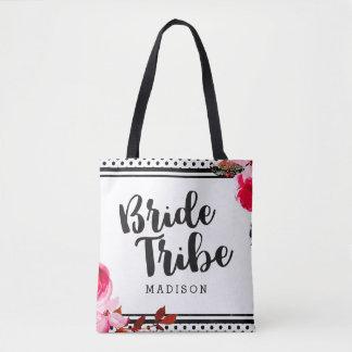 Bolso De Tela Tribu floral de Boho y negra rosada de la novia de