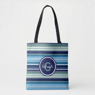 Bolso De Tela Trullo azul y rayas blancas del verano