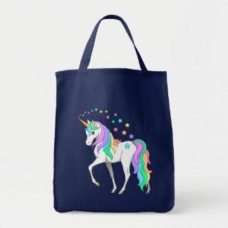 Bolso De Tela Unicornio colorido y estrellas del arco iris