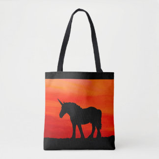 Bolso De Tela Unicornio de la puesta del sol