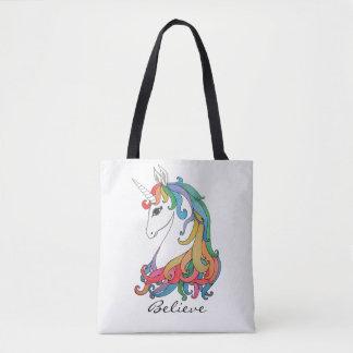 Bolso De Tela Unicornio lindo del arco iris de la acuarela