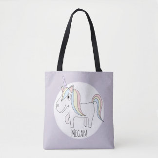Bolso De Tela Unicornio mágico de la niña linda con el pañal