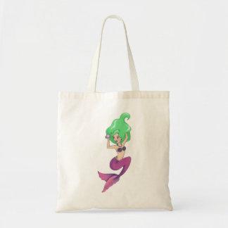 Bolso De Tela ¡Va el verde con esta sirena cabelluda preciosa,