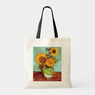 Bolso De Tela Van Gogh - tres girasoles en un florero - bella