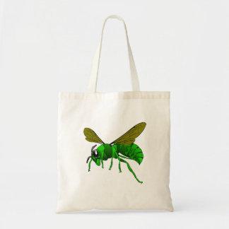 Bolso De Tela Verde del dibujo animado y abeja de la avispa del
