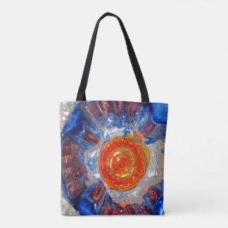 Bolso De Tela Vidrio de estallido del arte del cosmos - naranja