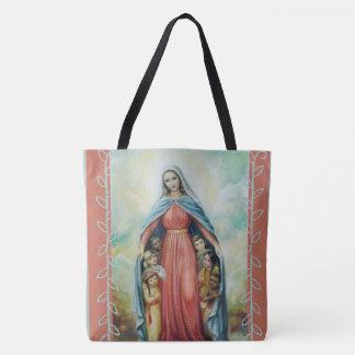 Bolso De Tela Virgen María bendecido con los niños