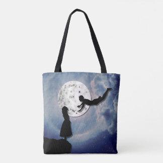Bolso De Tela vuéleme al universo del corte del papel de la luna
