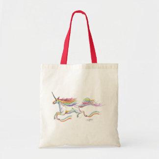 Bolso De Tela Vuelo del unicornio del arco iris que salta el