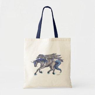 Bolso De Tela Vuelo negro del unicornio que salta el azul de
