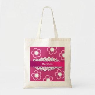 Bolso De Tela w/Daisies rosado y femenino bonito