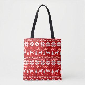 Bolso De Tela Weimaraner siluetea rojo del modelo del navidad