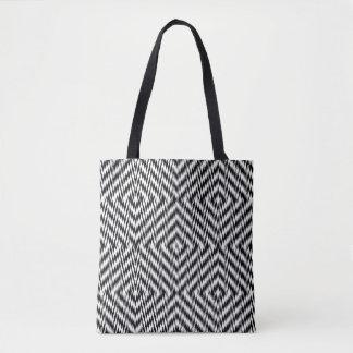 Bolso De Tela Zigzag blanco y negro