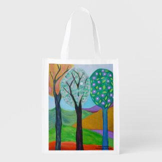 Bolso de ultramarinos abstracto de los árboles