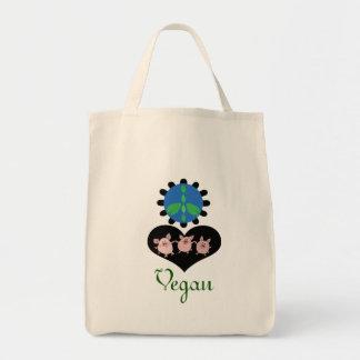 Bolso de ultramarinos del vegano del amor de la