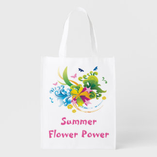 Bolso de ultramarinos reutilizable del flower