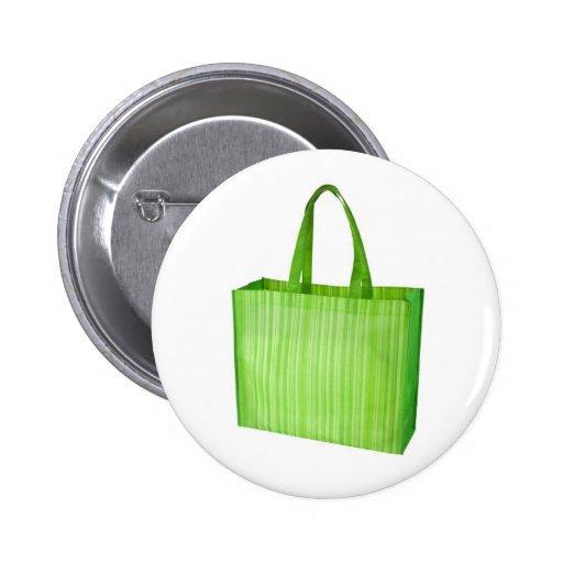 Bolso de ultramarinos reutilizable verde vacío pin