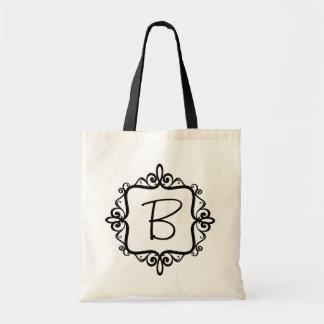 Bolso del favor del boda del monograma bolsa tela barata