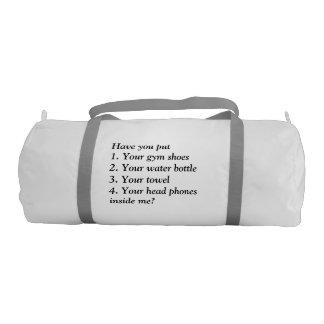 bolso del gimnasio con un mensaje divertido bolsa de deporte
