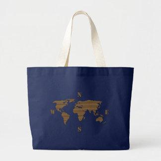 Bolso del mapa del mundo de la cartulina bolsa de tela grande