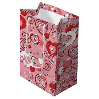 Bolso del regalo - corazones de los corazones de bolsa de regalo mediana