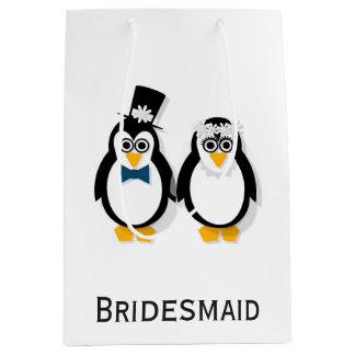 Bolso del regalo de boda de los pingüinos bolsa de regalo mediana
