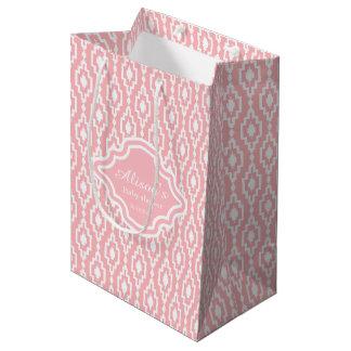 Bolso del regalo - del enrejado rosa rombal bolsa de regalo mediana