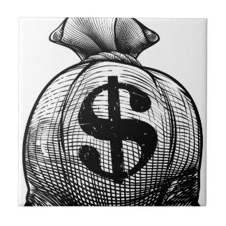 Bolso del saco o del dinero de la arpillera de la azulejo de cerámica