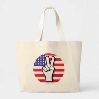 Bolso del signo de la paz - imagen grande bolsa tela grande