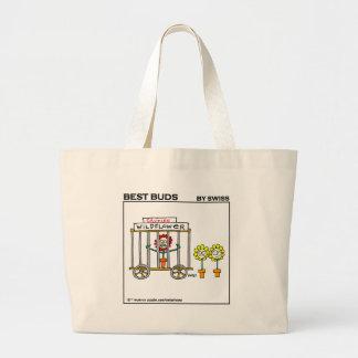 Bolso divertido del dibujo animado del jardín de bolsa de tela grande