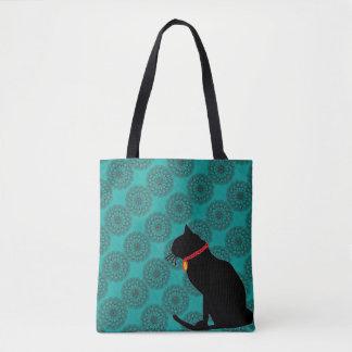 Bolso elegante del gato negro de la aguamarina bolso de tela