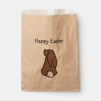 Bolso feliz de la invitación del conejito de bolsa de papel