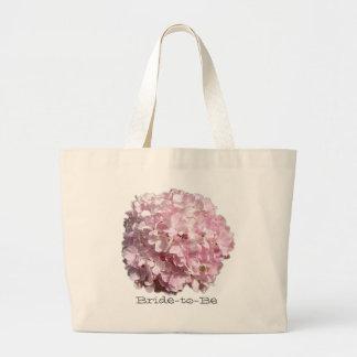 Bolso floral rosado del boda del Hydrangea Bolsa De Tela Grande