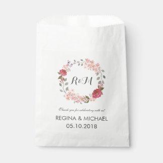 Bolso floral rústico del favor del boda del bolsa de papel