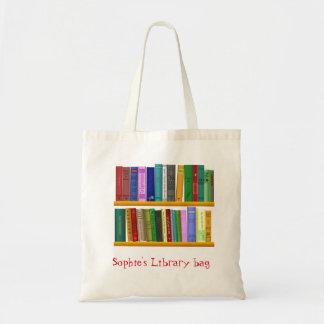 Bolso lindo conocido de la biblioteca del libro