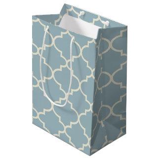 Bolso medio del regalo del enrejado marroquí azul bolsa de regalo mediana