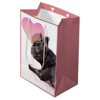 Bolso medio rosado del regalo del dogo francés bolsa de regalo mediana