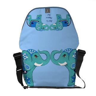 Bolso Messenger Elefante de la alheña (azul/azul claro)