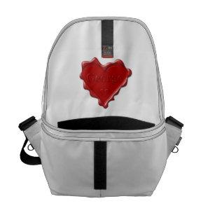 Bolso Messenger George. Sello rojo de la cera del corazón con 94fa0fc49ff