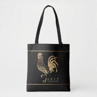 Bolso negro 2 del Año Nuevo 2017 de oro del gallo