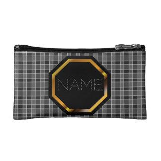 Bolso negro adaptable de los cosméticos de la tela