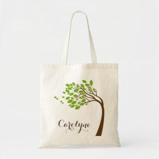 Bolso personalizado flor de cerezo verde simple