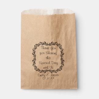 Bolso personalizado guirnalda frondosa del favor bolsa de papel