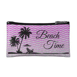 Bolso púrpura de plata del cosmético de la playa