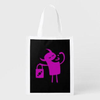 Bolso púrpura reutilizable de la invitación del