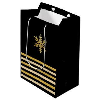 Bolso rayado beige del regalo del oro del copo de bolsa de regalo mediana